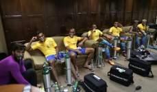 لاعبو البرازيل يستعملون اقنعة الاوكسيجين للتعافي من مباراة بوليفيا