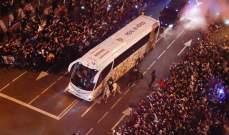 استقبال مهيب لحافلة ريال مدريد قبيل مواجهة باريس سان جيرمان
