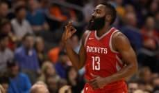 NBA: هاردن يقود هيوستن لسحق فينيكس وتصدر المجموعة الغربية