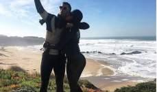 رونالدو وصديقته جورجينا على الشاطئ