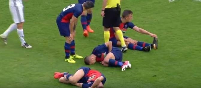 3 لاعبين في الدوري النمساوي يسقطون أرضًا بسبب تسديدة من الخصم