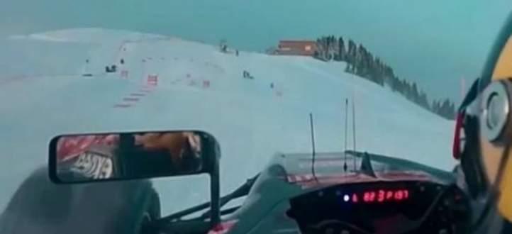 شاهد سيارة رد بُل وهي تشقّ طريقها على الثلج