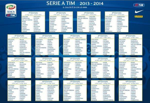 جدول مباريات الدوري الايطالي للموسم 2013 2014