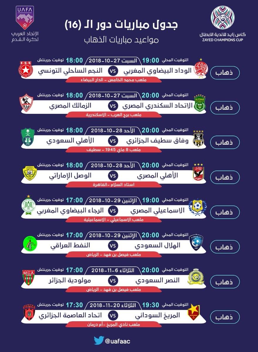 6297303 1539579952 - الكشف عن موعد مباريات دور الـ 16 من كأس زايد للأندية العربية