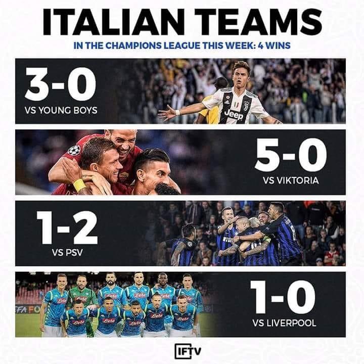 6925035 1538647495 - دوري الأبطال: أربعة من أربعة للأندية الإيطالية لأول مرّة منذ 13 عامًا
